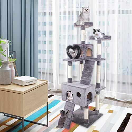 JR Knight Kratzbaum Stabiler Kletterbaum Katzenbaum mit Sisal-Kratzstangen Katzenkratzbaum mit 2 großer Aussichtsplattform Kratzbrett Kuschelhöhle Katzenbürsten für Kätzchen Grosse Katzen Grau
