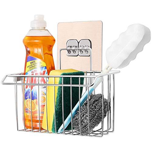 Bogeer Organizer Cucina Lavello parete Cestino Appeso Contenitore Compatto per lavello, Acciaio Inox Spazzolato Sink Tidy (Hook style)