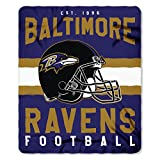 NFL Baltimore Ravens Singular Fleece Throw, 50-inch by 60-inch, Black