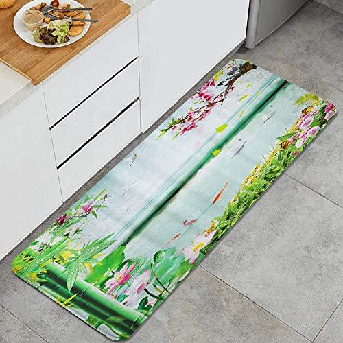 HARXISE Alfombras para Cocina Baño de Cocina Absorbente Alfombrilla,Naturaleza Paisaje Stream Lotus Bamboo Birds,para Dormitorio Baño Antideslizantes Lavables