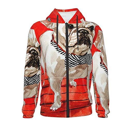 Animal French Bulldogs Teenage Zipper Hoodie Pockets Hooded Sweatshirts Jacket