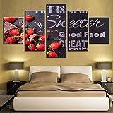 Ysurehom 5 Leinwandbilder Leinwand Hd Drucke Bilder Dekor 5 Stücke Süße Erdbeeren Gemälde Pralinen Konfekt Lebensmittel Poster Modulare Küche Wandkunst