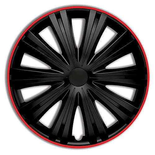 AutoStyle PP 5045BR Satz Radzierblenden Giga R 15-Zoll Schwarz/Rot