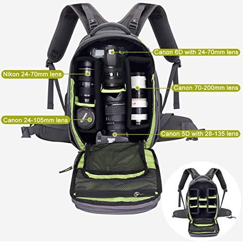 Endurax Video Camera Backpack Fit 2 DSLR/SLR Camera, 3-5 Lenses, 15.6 inch Laptop for...