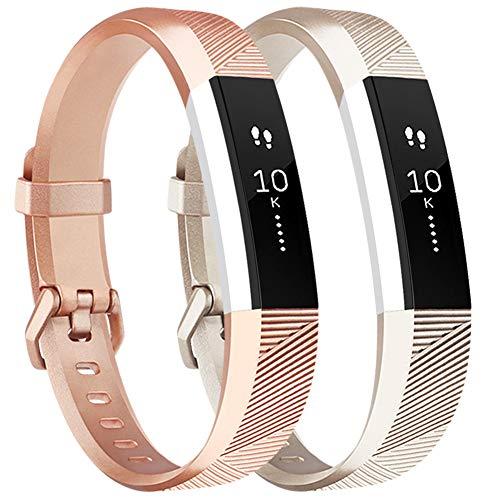 Tobfit Armband für Fitbit Alta HR Armband, Alta Armband Verstellbar Weich Ersatz Armbänder für Fitbit Alta HR und Fitbit Alta (Keine Uhr) (2-Pack Champagner Gold+Rose Gold, Große)