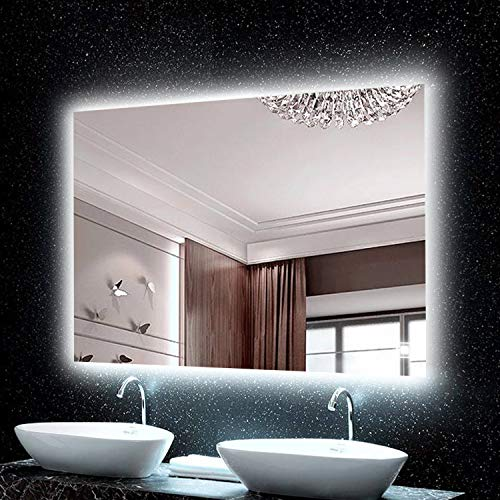 H & A Hans & Alice Backlit Mirror,LED Wall Mounted Bathroom Vanity -