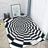 IOWLDMW Alfombras Salon Grandes Cuadrícula Giratoria Creativa Blanca Negra Alfombra Salón Pelo Corto Diseño Alfombra Vintage Style para Comedor Pasillo y Habitación 120 x 170 cm