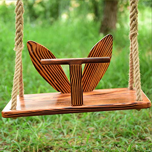 Hignful Wooden Swing Hanging Tree Swing, Wooden Swing Seat, Adjustable Swing Set for Indoor And Outdoor Playground Backyard Indoor Outdoor Hammock Toy Cute Bunny Comfortable Durable Structure