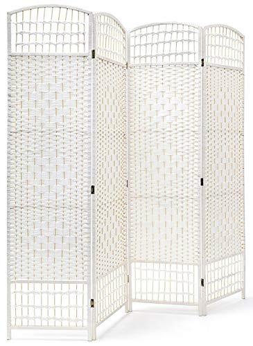 Hogar y Mas Biombo Blanco de Bambú Natural para Salón/Dormitorio, Di