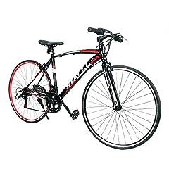 クロスバイク 自転車 700*25C シマノ製14段変速 超軽量高炭素鋼フレーム 前後キャリパーブレーキ ワイヤ錠・ライトのプレゼント付き マウンテンバイク ブラック*レッド 02BKRD