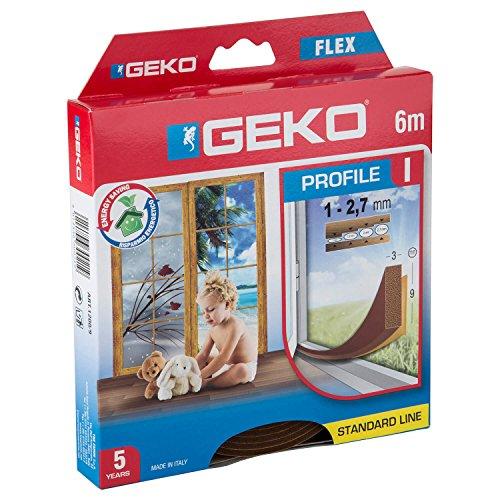 Geko 940009 - Isolante per porte e finestre'I-Profil' autoadesivo, ritagliabile, lunghezza 6 m, 9 x 3 mm, durata 5 anni, colore: marrone