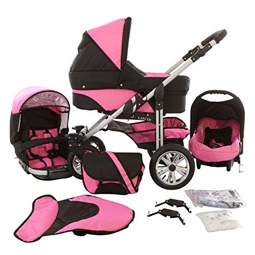 Chilly Kids Matrix Lancer Kinderwagen Komplettset (Autositz, Regenschutz, Moskitonetz, Schwenkräder) 31 Schwarz & Rosa