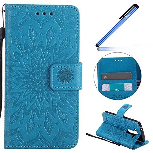 Ysimee Coque LG G3 Mini, Étui Portefeuille Magnétique en Cuir Fleur en Relief Folio Housse Con Antichoc TPU Bumper Poche de Cartes Fonction Support Coque à Rabat pour LG G3 Mini,Bleu