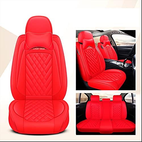 Ciroing Fundas Asientos Coche Accesorios Universales para Dacia Berlina/Break/DoubleCab/Logan/Solenza/SanderoStepway/Duster Cuero Funda Asiento Seat,Rojo