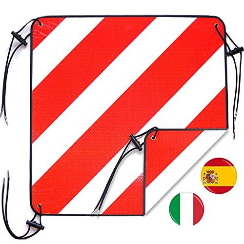 LIEBFIT 2in1 reflektierend Warntafeln Warnschild Italien und Spanien Aluminium mit 4*Spanngurte für Heckträger Fahrradträger Wohnmobil 50x50cm