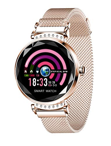 Smart Watch for Women, Fitness Tracker with Heart Rate Blood Pressure Waterproof,Activity Tracker Compatible for iOS Android iPhone Samsung Phones. Best Gift (Rose Gold)