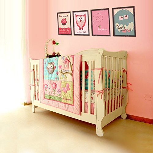 Brandream Pink Crib Bedding Sets Girls Floral Baby Nursery Bedding Set with Crib Bumpers 100% Breathable Cotton Owl Birds Family 7 Pieces