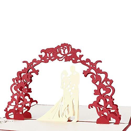PLDMZHK Tarjeta de felicitación Despedida de Soltera en 3D Amor Tarjeta de San Valentín Aniversario romántico Tarjetas Pop Up Casado Corte láser Invitación de Boda Tarjetas de felicitación