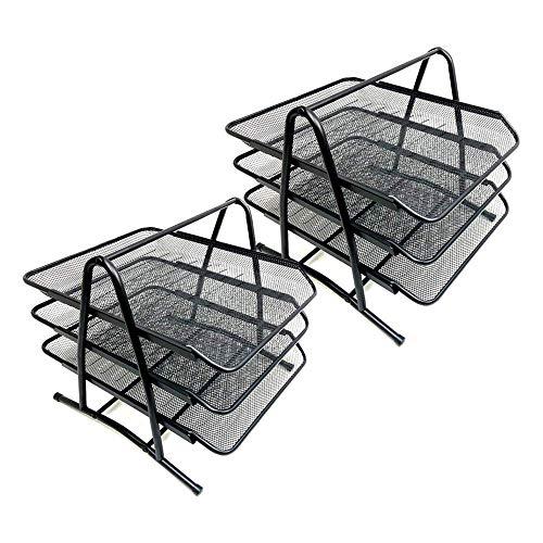 BANDEJA DE DOCUMENTOS STARPLAST - Organizador de escritorio, de metal, para folios, hojas y documentos. Para oficinas o uso personal - Negro 3 Pisos Pack 2 Unidades