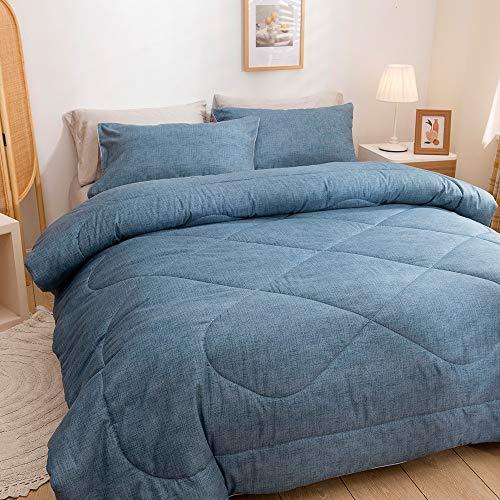 choicehot Doppelbett Zweifarbige Bettdecken 200 x 200cm Stilvolle Füllung 1800g Daunendecke Blau Braun Steppdecke und Kissenbezüge 80x80cm Minimalismus Mikrofaser 4 Jahreszeiten Bettdecke