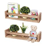 Astoryou - Juego de 2 estanterías flotantes de madera maciza de paulownia para dormitorio, baño, habitación familiar, cocina, color marrón carbonizado