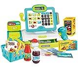 Kids Electronic Toy Cash Register with Scanner, Lights & Sounds, Shopping Basket Supermarket