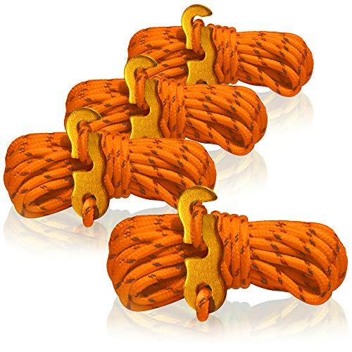 com-four® 4X Abspannseil für Camping reflektierend in orange - Zeltschnur Leuchtend - Spannschnur - Camping Schnur - Seilspanner - Zeltleine - Sturmband