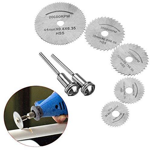 VGEBY チップソー 丸鋸刃 切削ディスク ミニルーター 切断鋸 彫刻工具 小径 HSS 高速度鋼 5枚刃 七点セット