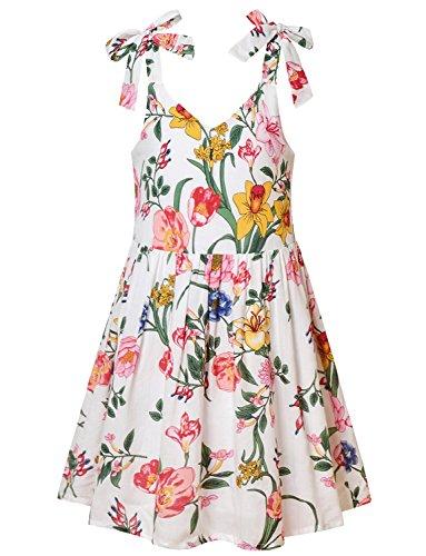 Jxstar Girl V-Neck Dress Sweet Shoulder Straps Adjustable Summer Floral Print