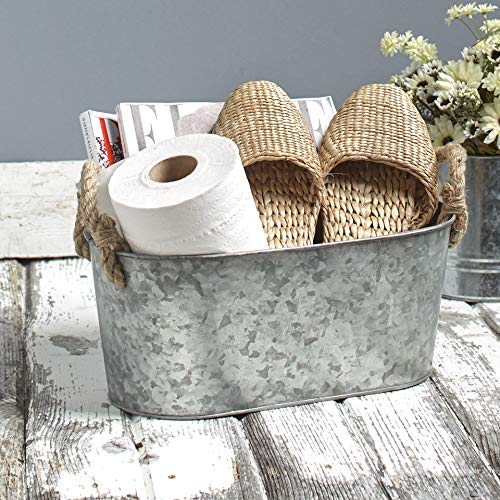 The Lakeside Collection Galvanized Metal Monogram Bucket - Rustic Storage Bin with Rope Handles - Plain
