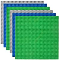 """Lekebaby Classic Baseplates 10""""x10"""" Large Building Board Base Plates 100% Compatible with All Major Brands, 6 Pack"""