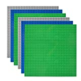 Lekebaby Classic Baseplates Building Base Plates for Building Bricks 100% Compatible with Major Brands-Baseplates 10' x 10', Pack of 6