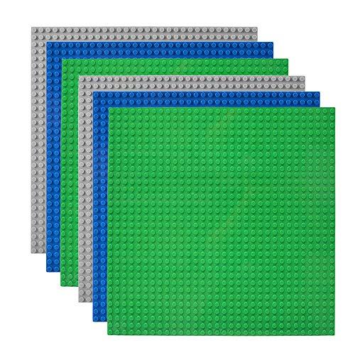 Lekebaby 6 Platten-Set Bauplatte Kompatibel mit Meisten Marken, 25*25cm, Grüne Blaue Graue Grundplatte