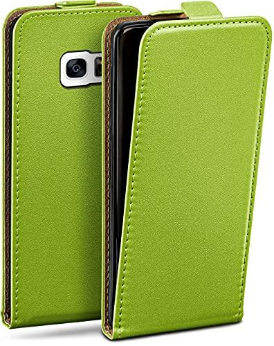 moex Flip Hülle für Samsung Galaxy S7 - Hülle klappbar, 360 Grad Klapphülle aus Vegan Leder, Handytasche mit vertikaler Klappe, magnetisch - Grün
