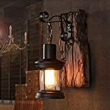 Aplique de pared de vidrio vintage, lámpara de pared nórdica rústica, lámpara de pared de madera de metal retro para restaurante, bar, dormitorio, mesita de noche, pasillo, decoración (sin bombilla)