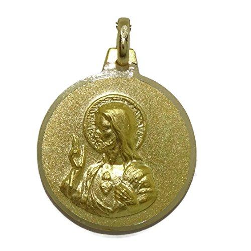 Never Say Never Escapulario de 18mm de oro amarillo de 18kts con la Virgen del Carmen y el Sagrado Corazón de Jesús mate y brillo.