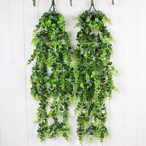 Aimili 2 hojas de hiedra artificiales verdes para colgar flores de hiedra, flores de plástico, flores decorativas para colgar en la pared, 90 x 28 x 7,5 cm
