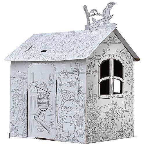 TikTakToo Spielhaus aus Pappe Malhaus Dschungel Tiere Pappspielhaus zum Bemalen und Dekorieren inklusive Stifte Haus Spielzeug Karton