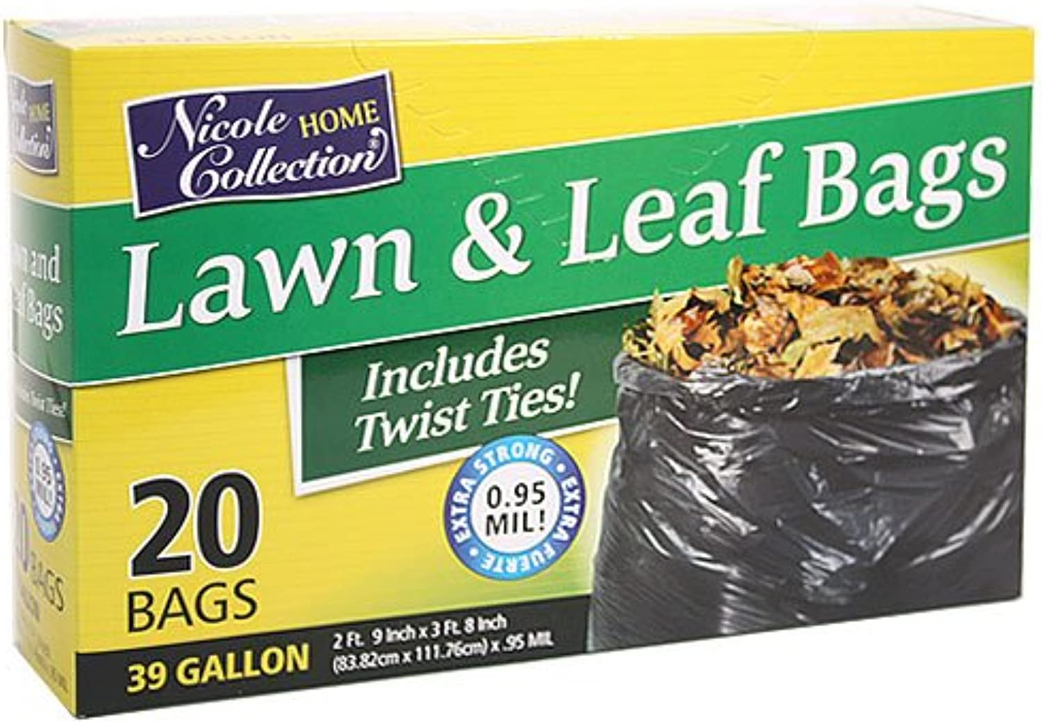 Nicole Home Collection 20-Count Lawn and Leaf Bags, 39-Gallon