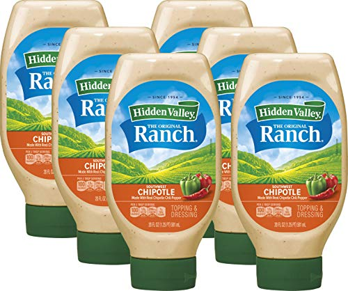Hidden Valley Easy Squeeze Southwest Chipotle Ranch Salad Dressing & Topping, Gluten Free - 20 Ounce Bottle (Package May Vary)