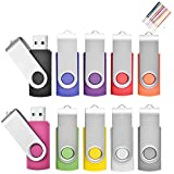 TEWENE Lot de 10 Clé USB 2.0 pour PC Couleur Mixte 54 * 16 * 10mm (16G, Mixte Couleur-3)