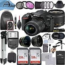 Nikon D3500 DSLR Camera 24.2MP Sensor with NIKKOR 18-55mm f/3.5-5.6G VR Lens, 2 Pack SanDisk 128GB Memory Card, Backpack, Tripod, Slave Flash Light and A-Cell Accessory Bundle (Black)