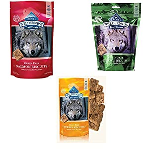 Blue Buffalo Wilderness Dog Trail Treat Biscuits Variety Pack – Grain Free – 3 Flavors (Duck, Turkey, Salmon) – 10 oz (3 Total Bags)