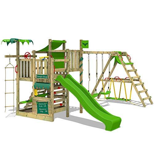 FATMOOSE Klimtoren voor tuin CrazyCoconut met schommel SurfSwing en appelgroene glijbaan, Houten speeltuig, Speeltoestel voor buiten, klimrek met zandbak en klimwand voor kinderen