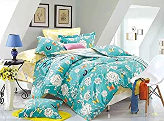 Tache Floral Colorful Aqua Duvet Cover - Butterfly Wonderland - Luxurious Cotton Reversible with Zipper and Security Ties/Ribbons - 3 Piece Set - Queen