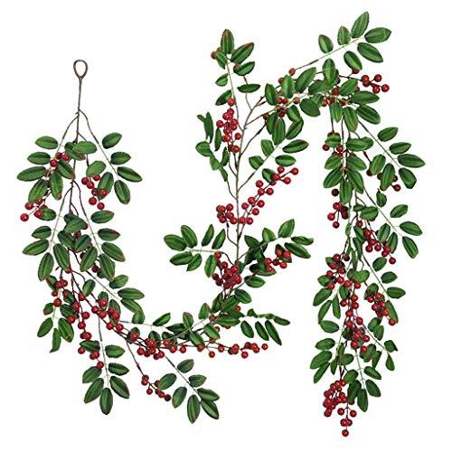XuHang Navidad pequeñas bayas artificiales de cerezo rojo ratán simulación hojas verdes falsas bastón de fruta rojo floral árbol de Navidad multicolor adornos para puerta delantera