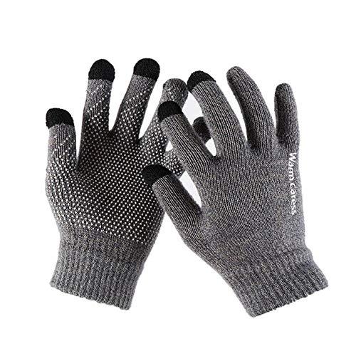 1Pair Men Thicken Knitted Gloves For Male Winter Autumn Warm Solid Gloves Men Mitten Business Gloves-gray