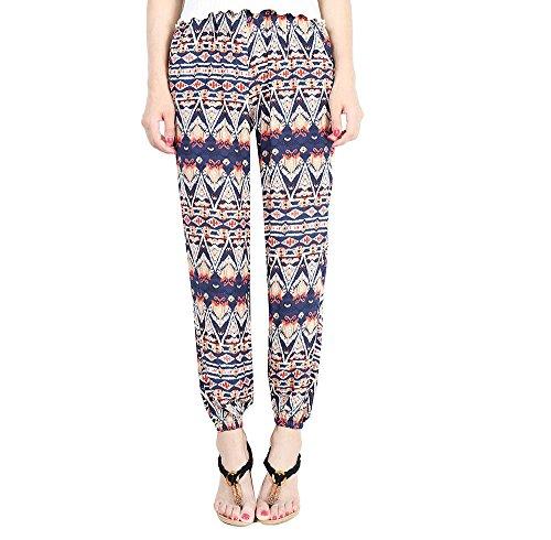 YuanDian Femme Ete Mousseline Rétro Bohème Style Grande Taille Imprimé Floral Taille Haute Large Sarouel Pantalons Taille Elastique Léger Mince Pantalons Amples Bleu XL