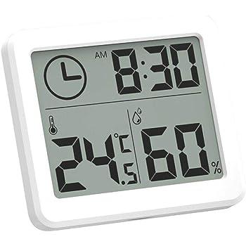 Esplic Termómetro Digital Higrómetro, Temperatura, Humedad y Reloj Grabadora 3 en 1 para Sala de Estar, Dormitorio, Estudio, baño, Cocina, Granja