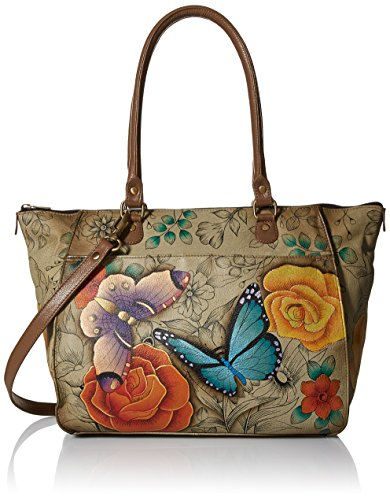 Anna by Anuschka Tote Bag   Genuine Leather   Large, Floral Paradise Tan